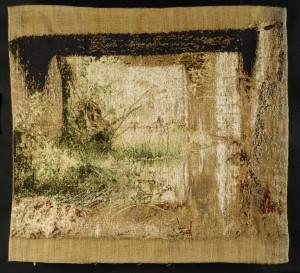 Friche sous un pont - 145x140 - tapisserie haute lice