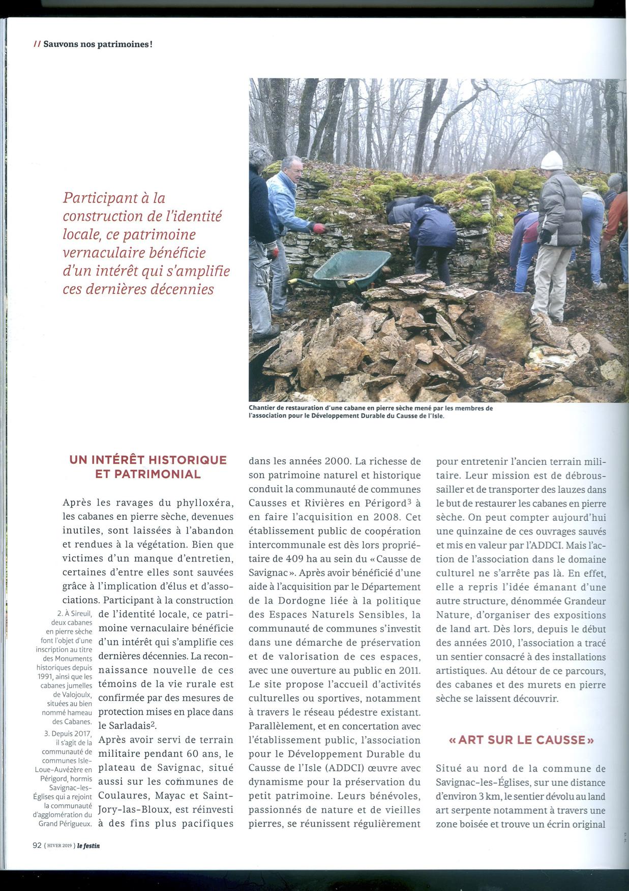 Article du magazine Le Festin